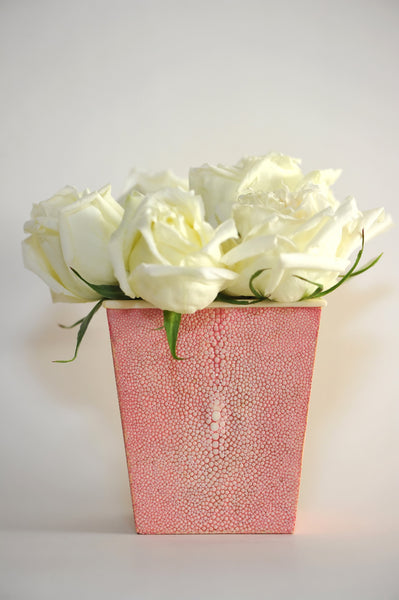 Pink Square Shagreen Vase with Bone Detail