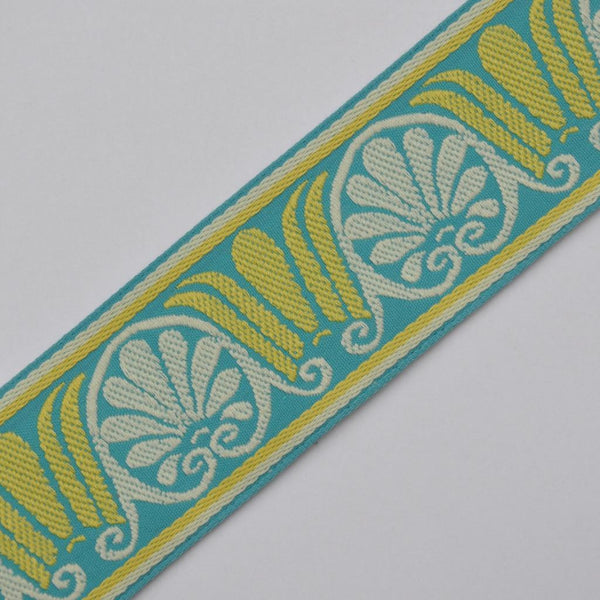 Shell and Acanthus Tape Trim, Turquoise Blue & Yellow