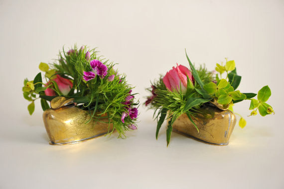 Brass Shoe Miniature Vases-Set of 6
