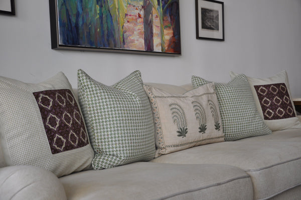 Taupe Check Batik Pillow