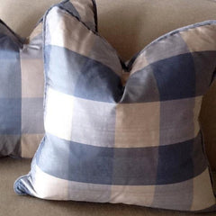 Blue Large Check Silk Pillow