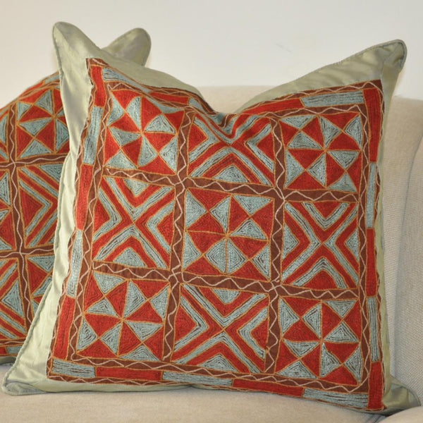 Red and Teal Pillow