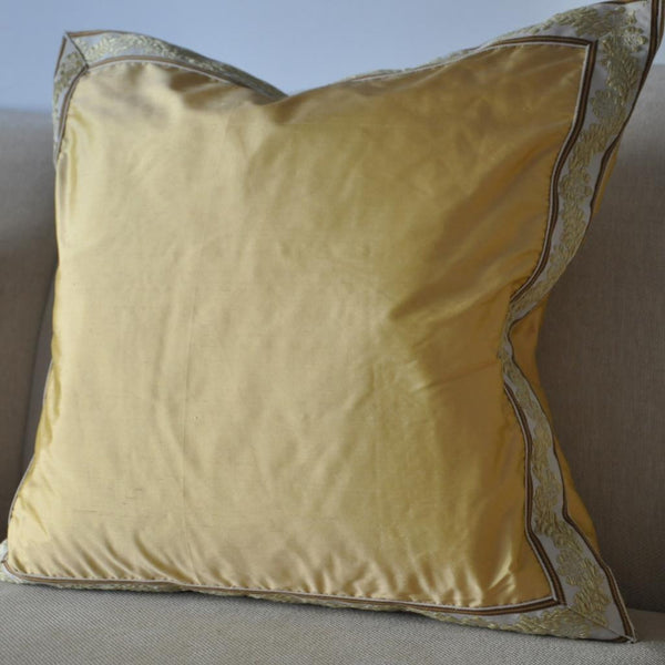 Canary Yellow Silk Pillow