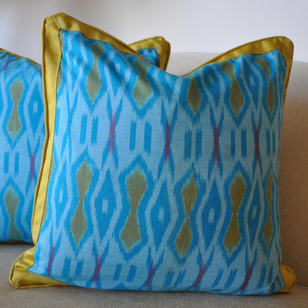 Blue Turquoise Ikat Pillow