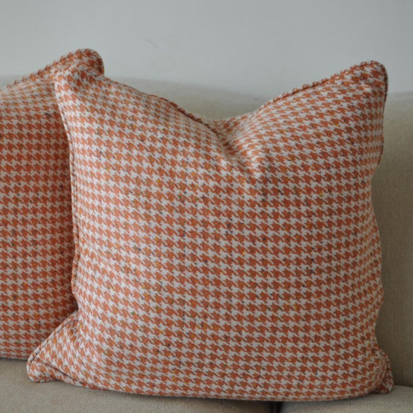 Melon Houndstooth Cashmere Wool Pillow