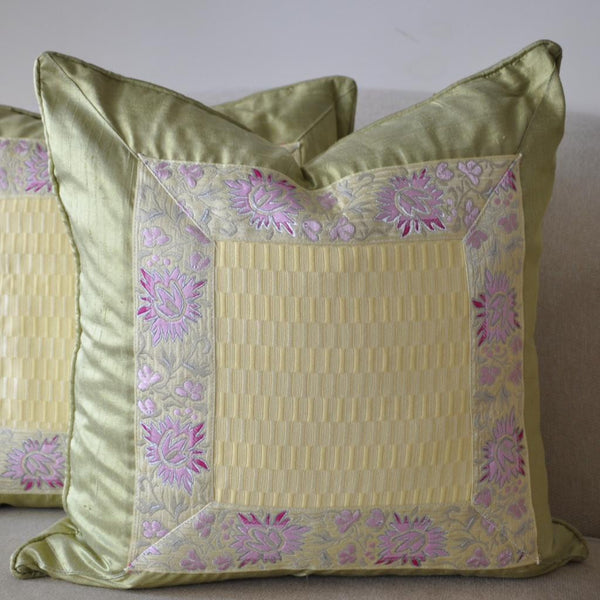 Pastel Scalamandre Trim Pillow