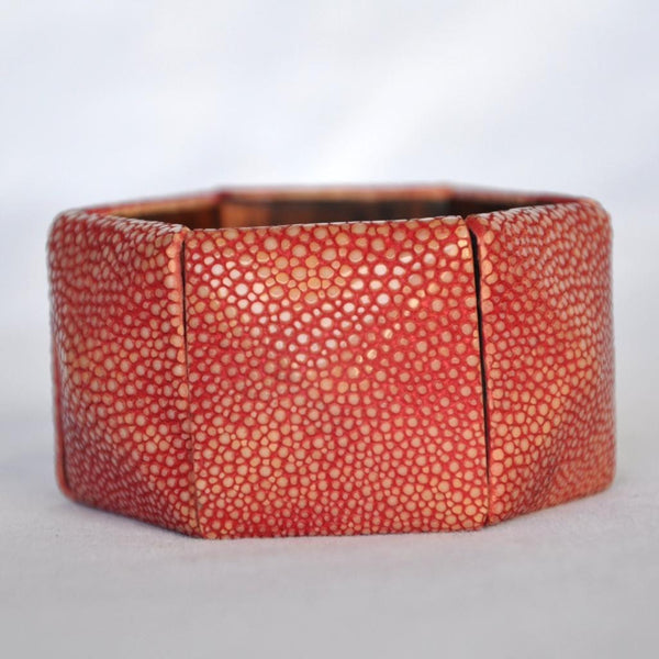 Shagreen Cushion Bracelet-Red