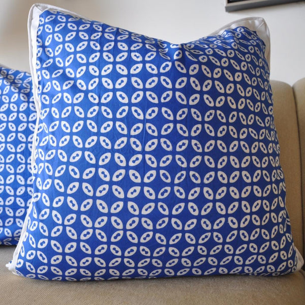 Blue Pinwheel Batik Pillow