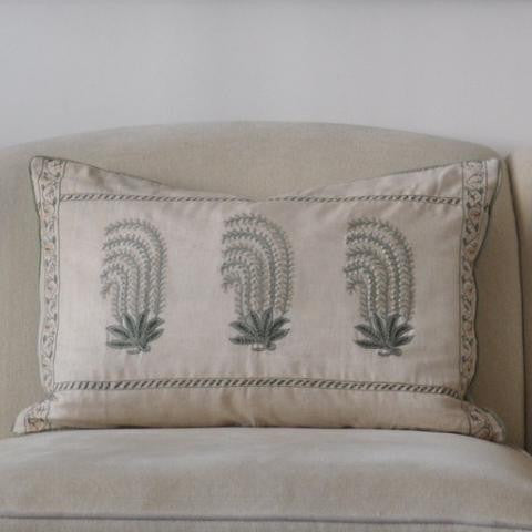 Chelsea Textiles Hand Embroidered on Linen Pillow