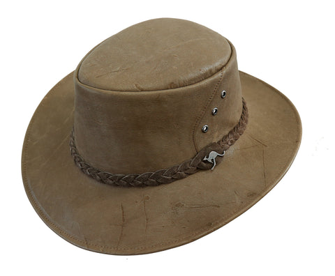 Kakadu Traders vegetable tanned Roo Leather Hat |  Australian made