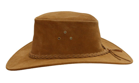Kakadu Leather Hat Echuca Suede with hand braided hatband