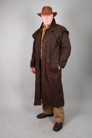 WORKHORSE DROVERS COAT IN BLACK AND BROWN