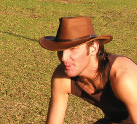 Kakadu Coolongatta Leather Hat with shapeable brim, 2nd choice- Made in Australia
