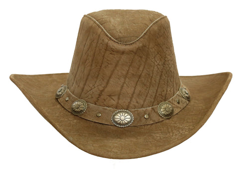 Original Western Leather Hat Razorback with shapeable Brim
