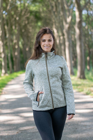 Nordberg Fleece Strickjacke Babs in taupe