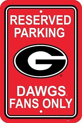 Georgia Bulldogs Large Plastic Parking Sign Football Reserved University of