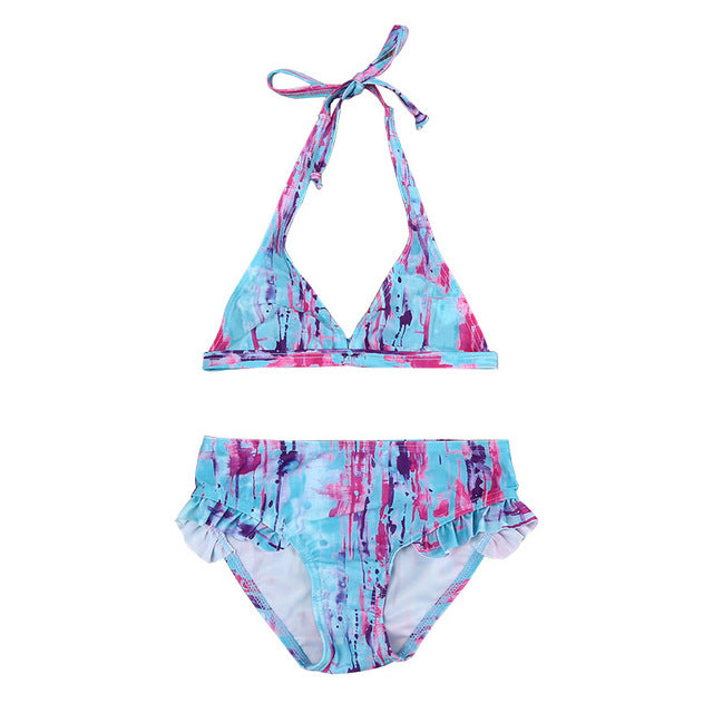 6b12576dac 2018 Cute Children Baby Girl Clothes Halter Swimsuit Blue Pink Bikini  Bikini Swimwear Fashion Floral Bathing