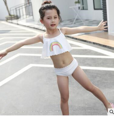 ffa3728a89 2018 Cute Girls Bikini Rainbow White children Swimwear kids Hot spring swimsuit  Beach Wear for Girls ...