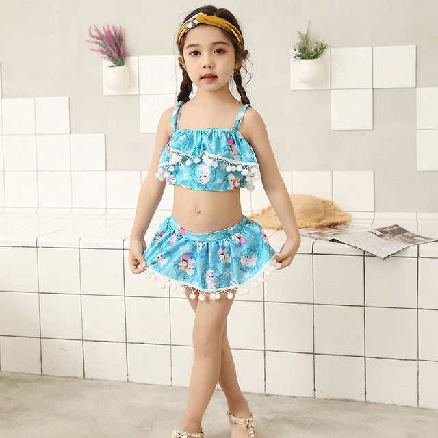 35d44c1ab295c 2018 Girl Kid skirted Swimwear Crop top Child Cute Two piece Swimsuit Swim  Bathing Suit Tanga