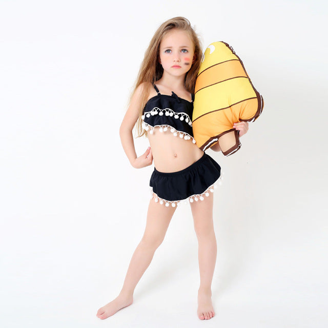 3613cbd8a3 2018 New Girls Swimsuit Children Bikini Cute Baby Split Swimsuit Children's  Swimwear Small Sexy Decorative Children's