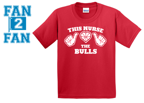 Red Custom 1 Color This Nurse Girl Guy Loves The Chicago Bulls Fan Tee Tshirt T-Shirt