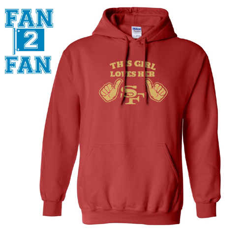 Red This Girl or Guy Man Loves the SF San Francisco 49ers Hoodie Hooded Sweatshirt Unisex Child Ladies