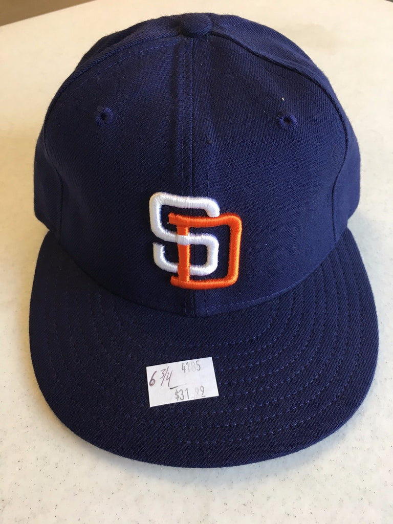 003 KO2. SAN DIEGO PADRES RETRO NEW ERA 5950 NAVY W  GRAY UNDER FITTED HAT 1eafb5e6fbac