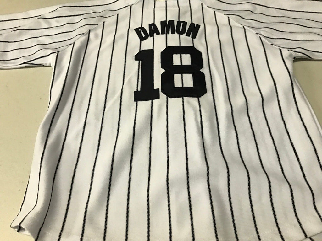 56e2e4af218 003 KO2. NWT YOUTH JOHNNY DAMON  18 RETRO NEW YORK YANKEES WHITE MAJESTIC  JERSEY