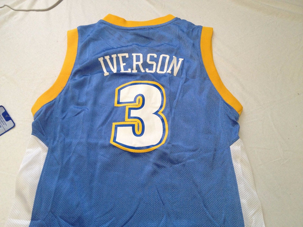 online store 29d5b 3987d NWT YOUTH ALLEN IVERSON #3 RETRO DENVER NUGGETS ADIDAS SKY BASKETBALL JERSEY