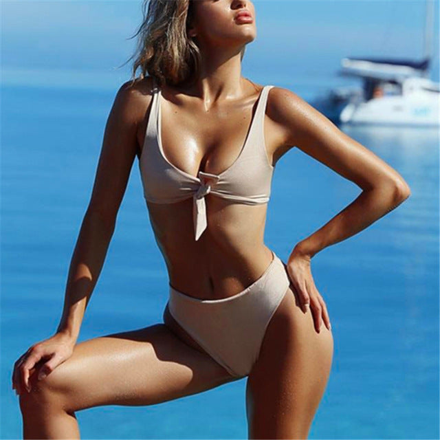 bd9e97abb8 Ariel Sarah Brand Chest Bandage Bikini Set Solid Bathing Suit Women Sw –  KO 41 13 (Kickoffshirts.com Fishing) 2018