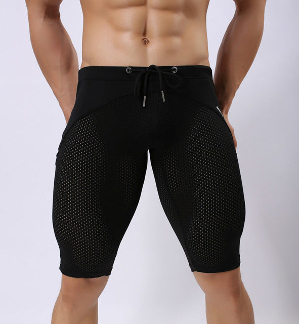 3d6427c821 BRAVE PERSON Men Swimwear Swimming Shorts Long Swim Trunks Beach Shorts  Nylon Mesh Mens Sexy Swimsuit