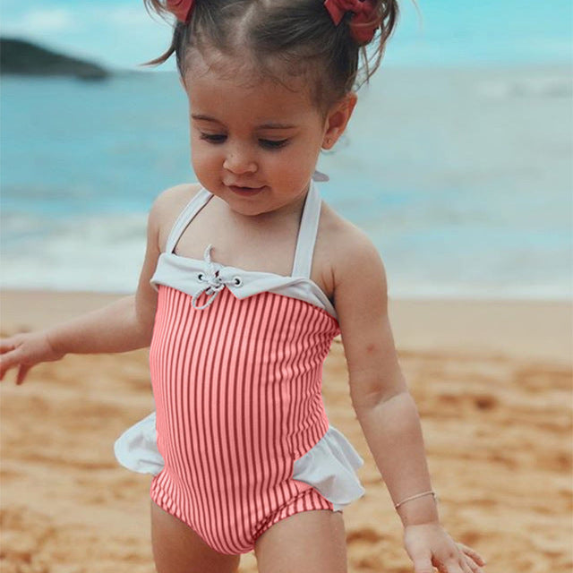9dfb28a003 ... Baby Girl Summer Swimwear Kids Clothes Stripes Toddler One Pieces  Swimwear Children Clothing Princess Costume Baby ...