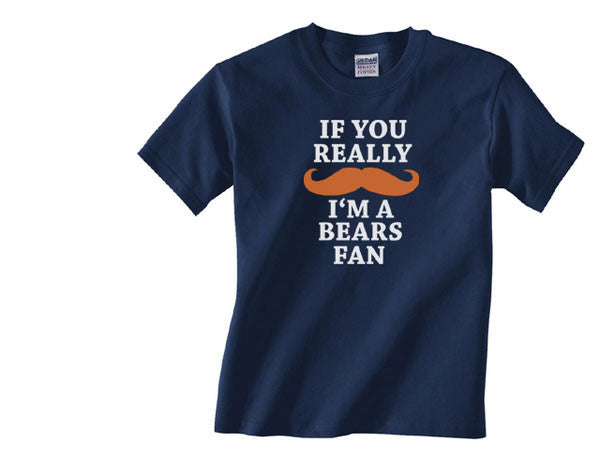 Navy Custom 2 Color If You Really Mustache I'm a Chicago Bears Fan Tee Tshirt T-Shirt