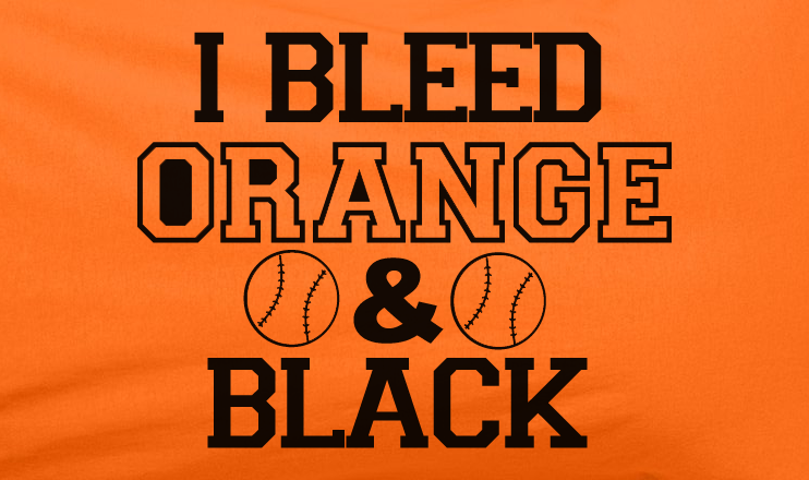 Orange I bleed Orange and Black baseball SF San Francisco Giants World Series Tee T-Shirt