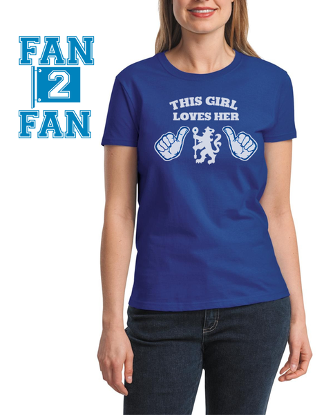 Blue This Girl or Guy Man Loves the Chelsea FC Soccer Tee Tshirt T-Shirt