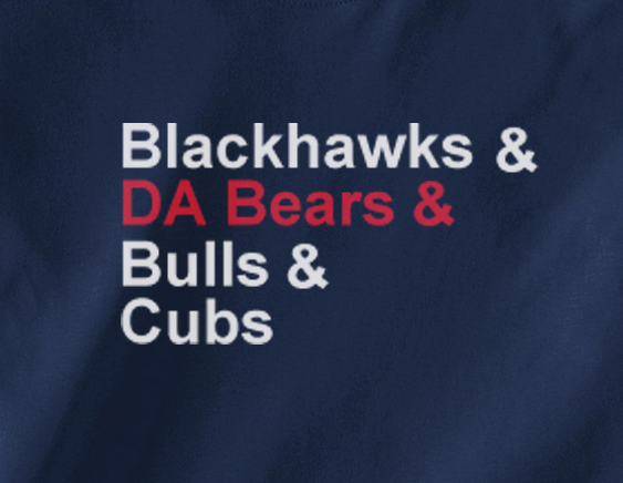 Navy Blue Custom 2 Color Chicago Bulls Blackhawks Da Bears Ampersand Cubs Tee Tshirt T-Shirt