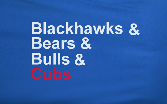 Blue Custom 2 Color Chicago Bulls Blackhawks Da Bears Ampersand Cubs Tee Tshirt T-Shirt