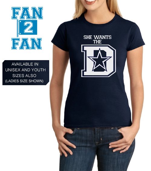 navy custom 1 color she wants the d defense dallas cowboys fan tee tsh kickoffshirts. Black Bedroom Furniture Sets. Home Design Ideas