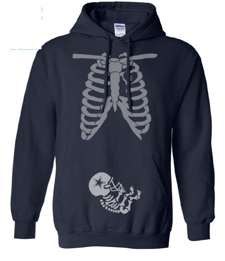 Navy Maternity Pregnant Expectant Mother Mom Dallas Cowboys Baby Skeleton Hoodie Sweatshirt