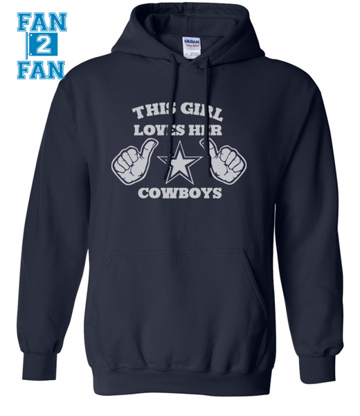 Navy This Girl or Guy Man Loves the Dallas Cowboys Hoodie Hooded Sweatshirt Unisex Child Ladies