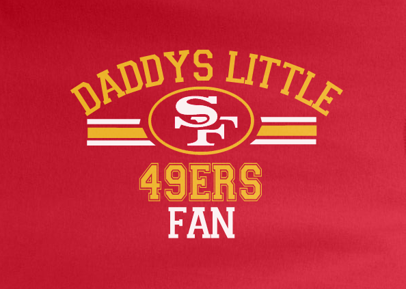 Red Custom 2 Color Daddys Little SF San Francisco 49ers Fan Football Tee Tshirt T-Shirt Toddler Youth
