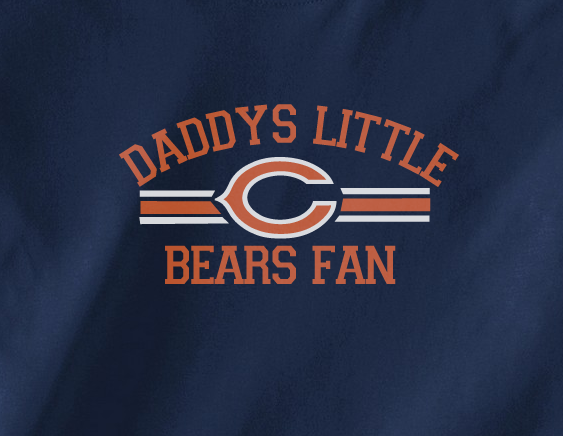 Navy Custom 2 Color Daddys Little Chicago Bears Fan Football Tee Tshirt T-Shirt Toddler Youth