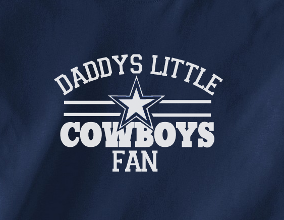 Navy Custom 1 Color Daddys Little Dallas Cowboys Fan Toddler Child Youth Kids Football Tee Tshirt T-Shirt