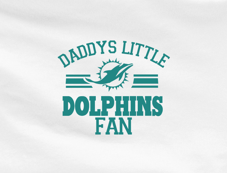 White Custom 1 Color Daddys Little Miami Dolphins Fan Tee Tshirt T-Shirt Toddler Youth