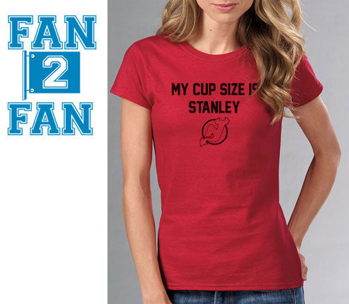 Red My Cup Size is Stanley Stanly NJ New Jersey Devils Hockey Tee Tshirt T-Shirt