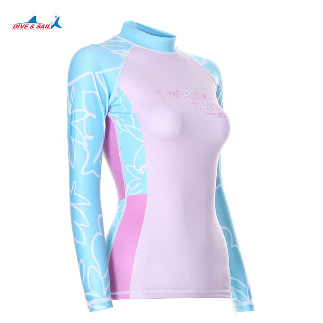 caa8508b3b Dive Sail womens rash guard shirt Long Sleeve Swimsuit Beach Surfing girls  wetsuit shirts Runfei Swimming Diving
