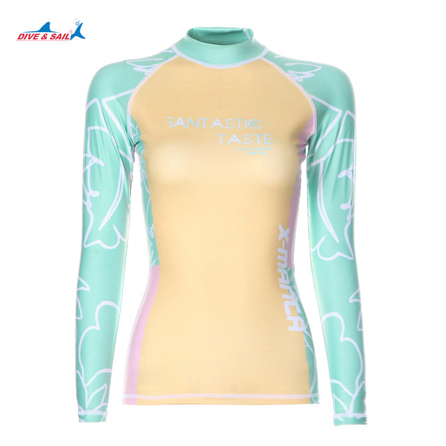 8913f2e60a ... Dive Sail womens rash guard shirt Long Sleeve Swimsuit Beach Surfing  girls wetsuit shirts Runfei Swimming Diving ...
