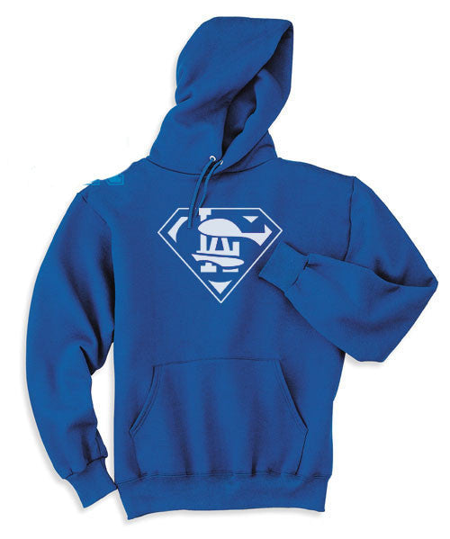 Blue LA Los Angeles Dodgers Baseball Superfan Superteam Superman Hoodie Hooded Sweatshirt Ladies Child Toddler Men