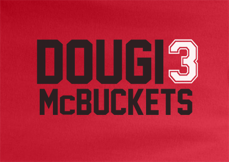 Red Custom 2 Color Dougie Mcbuckets Chicago Bulls #3 Basketball Tee Tshirt T-Shirt
