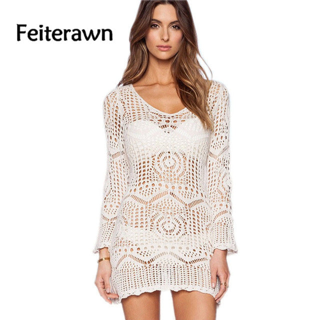 7cfa14eb0b59 Feiterawn 2018 Women Summer Bkini Cover Ups Floral Embroidery Long Sleeve  Hollow Out Knitted Mini Dress